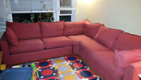 Hide-a-bed sectional, red canvas, VGUC