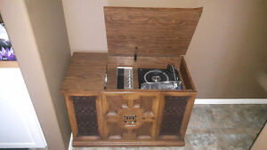 Radio, record player and 8 track antique