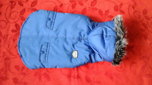 Top Paw X-small Blue Dog Coat With Hood Gray Faux Fur Trim