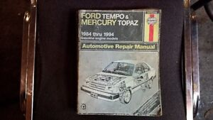 Haynes Manual for Ford Tempo & Mercury Topaz 1984-1994