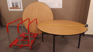 Tables Round folding 5ft and cart