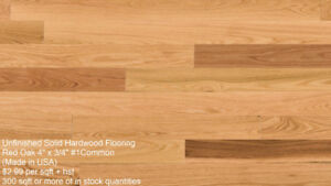 "4"" UNFINISHED SOLID OAK HARDWOOD FLOORING"