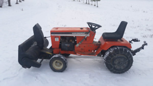 Garden tractor with snowblower and tiller