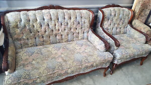 Antique French Provincial Hand Carved Tufted Loveseat & Chair