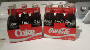 coca-cola 6 pack bottles from the 80s   $35
