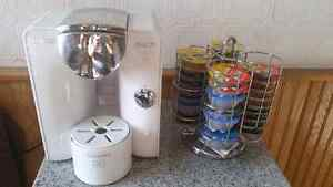 Tassimo coffee maker + variety of pods + stand