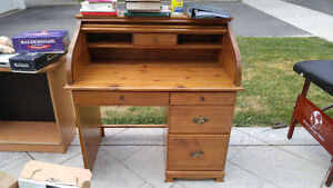 Pine roll top desk