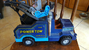 """blue """"Power Tow"""" Fisher Price toy tow truck"""