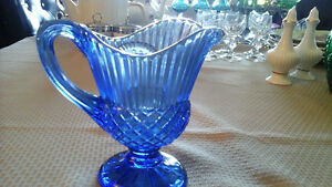 GLASS PITCHER - BLUE PRESSED GLASS,  MT. VERNON - VINTAGE
