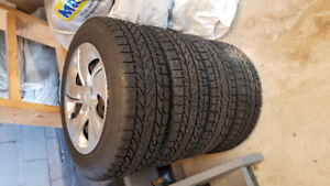 WINTER TIRES with wheels and hubcaps! -HONDA CIVIC (195/65 R15)