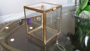 Glass and metal keepsake box