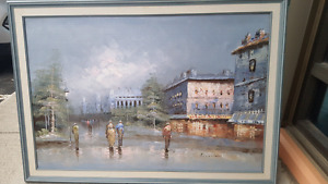 for sale signed canvas oil paint in a frame 36x24 inches