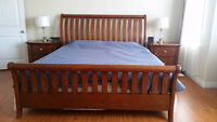 King size frame, side tables, mattress and boxspring