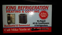 King Refrigeration,repairs all air conditioners & refrigerators.