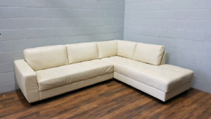 Free Delivery: Real Leather 2 Piece sectional