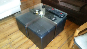 Glass Coffee table with 4 footrests