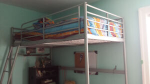 IKEA Twin Size Loft Bed Frame, Silver Color