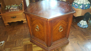 Vintage solid wood Octagonal end table or night stand