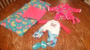 """Sleeping bag, pajamas, & nightgown or housecoat for 18"""" doll"""