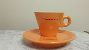 FAEMA- Set Of Six Orange Faema Cappuccino Cups & Saucers