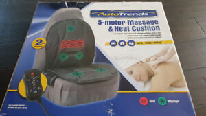 *NEVER USED* AUTOTRENDS 5 MOTOR MASSAGE AND HEAT CUSHION