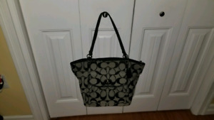 Authentic black/gray pre-owned Coach tote and wallet