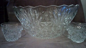 Glass Punch Bowl with 8 cups