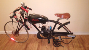 Bike with engine missing wheels