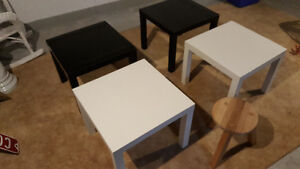 IKEA Black Side Tables And One Stool