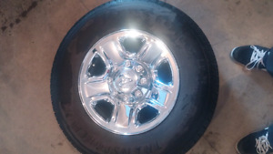 Set of 4, 18 inch Chrome rims and tires, Dodge 2500/3500