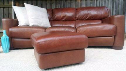 Three Seater Lounge Couch Sofa & Ottoman Genuine Leather Brown Coogee Eastern Suburbs Preview