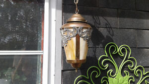 Beautiful brass and glass ceiling light.