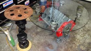 Mancave Chevy motor coffee table de salon moteur