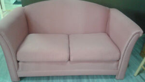 Love seat, glass top end tables for sale