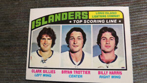 1976-77 NHL Islanders top scoring line(Trottier,Gillis( card