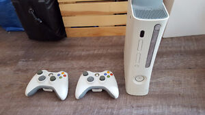 White XBOX 360 with 2 controllers and 17 games