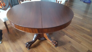 Solid wood antique clawfoot table w 8 chairs - sold PPU