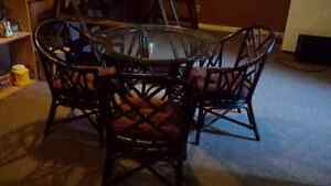Glass Top Bamboo Table and Chairs
