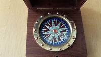Nautical Brass Pocket Compass in Rosewood Box