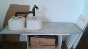 3 matching granite  counter tops with double sink