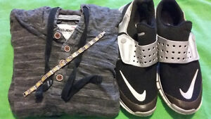 Mens Nike Sneakers, $100 Bracelet and Hooded Shirt