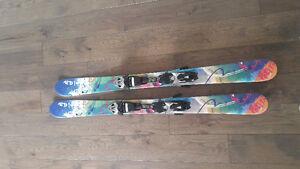 Salomon twin tip 130cm + Elan 125cm twin tip skis with bindings