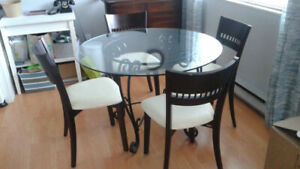 Dining Table with Four Chairs & Coffee Table with Two End Tables