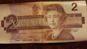 Canadian Currency Bank of Canada Banknote Paper Money $2