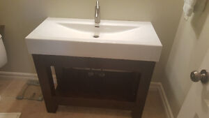 """38"""" Trough Sink, Vanity and Faucet"""