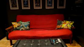 Red futon company sofa bed fold down bargain!