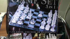 Chess, Checkers or Backgammon Board 3 in 1 Game