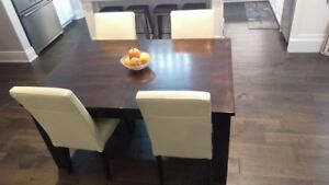 Solid Wood Espresso Dining Room Table with Leaf to Extend