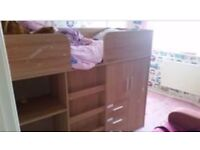 John Lewis Beautiful cabin bed with wardrobe & drawers and cabinet