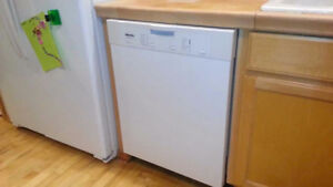 Miele dishwasher, white color outside, interior is stainless ste